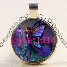 Butterfly fairy Cabochon Tibetan silver Glass Chain Pendant Necklace &XP-2413 #Unbranded
