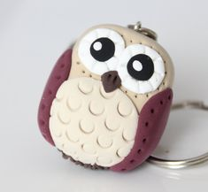 Beige Owl keychain by MissSnowyOwl on Etsy