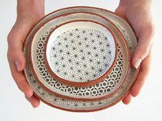 Set of Three Handmade Tapas Plates - Ceramic Plate Set - Geometric Plates - Pottery Plates - Ceramics and Pottery - MADE TO ORDER by susansimonini on Etsy Pottery Plates, Ceramic Plates, Ceramic Pottery, Ceramic Art, Glass Ceramic, Tapas, Cerámica Ideas, Pottery Making, Bowls