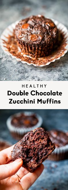 Healthy Double Chocolate Zucchini Muffins Healthy chocolate zucchini muffins made with whole wheat flour and no butter or refined sugars (besides chocolate chips). You're going to love these perfectly moist, insanely delicious double chocolate muffins! Double Chocolate Zucchini Muffins, Healthy Chocolate Muffins, Healthy Breakfast Muffins, Chocolate Chips, Chocolate Desserts, Healthy Zuchinni Muffins, Banana Zucchini Muffins, Zucchini Muffin Recipes, Breakfast Recipes
