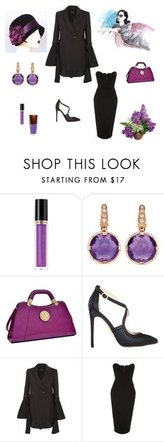 """Chic Purple Touches"" by scolab ❤ liked on Polyvore featuring Revlon, Bulgari, Dasein, E L L E R Y, Alex Perry and Mineral Fusion"