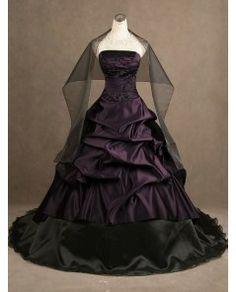 Black and Purple Strapless Gothic Wedding Dress