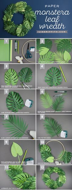Spruce Up Your Summer: Quick & Easy Paper Monstera Leaf Wreath Papier-Monstera-Blattkranz Papier-Monstera-Blattkranz Paper Flowers Diy, Flower Crafts, Craft Flowers, Flower Diy, Fabric Flowers, Paper Flower Patterns, Paper Flowers Craft, Paper Flower Tutorial, Wreath Tutorial