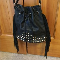 Nordstrom Bucket Bag Really cute Nordstrom Bucket Bag I bought this season. In really great condition. Has studs and fringe down the side bp Bags Crossbody Bags