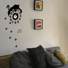 Wall Decal Sticker Vinyl Mural Clock Footprints Of Cats Animal Kitten Modern Kids  HARRY CLOCK hc-0034
