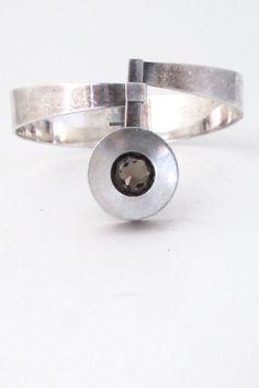 Elis Kauppi, Kupittaan ulta, Finland - vintage modernist 'framed smoky quartz' bracelet #bracelet #Finland