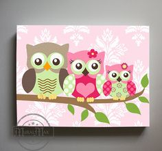 Art for Kids Room Owl Decor Girls wall art - Owl canvas art - Owl Nursery - Owl Childrens Art - Chil Baby Owl Nursery, Owl Nursery Decor, Baby Owls, Girl Nursery, Room Decor, Girl Room, Owls Decor, Elephant Nursery, Room Art