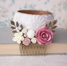 Rose Hair Comb Dusty Rose Pink Rose Hair by apocketofposies, $36.00