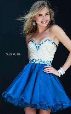 Short Royal Sherri Hill 1929 Prom Fitted Bodice Dress