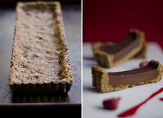 Chocolate Tart with hazelnut crust can be made GF by using a hazelnut and almond flour pastry crust