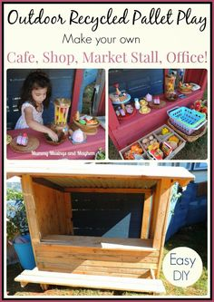recycle pallet, easy pallet diy, market stall, play shop diy, recycl pallet, cubbi, kids outdoor shop, recycled pallets