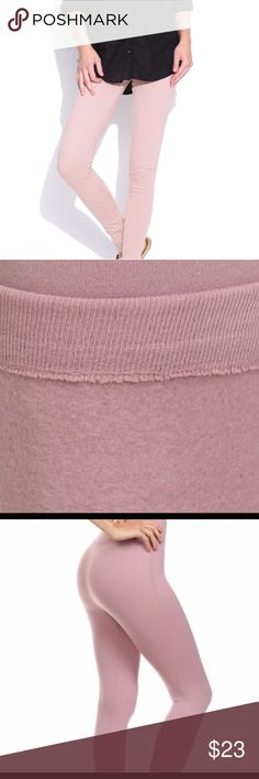 BLUSH COLOR FLEECE LINED LEGGINGS THIS SEASON BLUSH COLOR FLEECE LINED LEGGINGS IS A MUST HAVE.   90 POLYESTER 10 SPANDEX   ONE SIZE FITS SMALL TO LARGE EXTRA LARGE WITH NO PROBLEM  32  INSEAM Pants Leggings