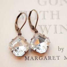 Cristal clair délicat bijoux immobilier style vintage boucles d'oreilles - Hepburn