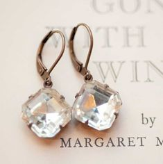 Clear Crystal Earrings Estate Style Vintage  by NotOneSparrow, $22.00