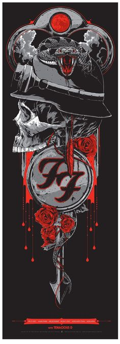 Foo Fighters poster by Ken Taylor and Rhys Cooper (my favorite of 3 designs by the duo) Rock Posters, Band Posters, Concert Posters, Gig Poster, Foo Fighters Poster, Rhys Cooper, Ken Taylor, Tenacious D, Arte Black