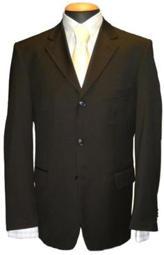Nice Long Black 100/% Wool Men/'s 5 Button Pointed Lapel Claiborne Tuxedo Jacket
