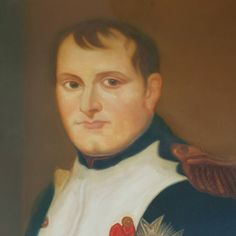 c.1900 Regal portrait of Napoleon by Henri Longère after David. Oil painting on masonite. Original gilded wood frame. Longère graduated with honours from the Beaux Arts Academy of Lyon at the turn of the 20th century and was a prolific painter.