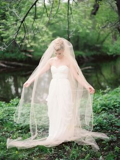 Blush Wedding Veil -- See more here: http://www.StyleMePretty.com/midwest-weddings/2014/04/09/romantic-river-inspiration-shoot/  Photography: EmilySteffen.com