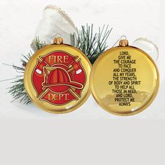 3.5-inch Disc Ornament with Fireman's Prayer