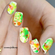 """splatter nails with geometrical stamping Color Club """"French Tip"""" Color Club """"Feelin' Groovy"""" China Glaze """"celtic sun"""" Sally Hansen xtream wear """"Red Rebel"""" MoYou London stamping plate """"Holy shapes 04"""" straw"""