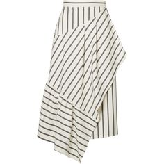 Tibi Lucci wrap-effect striped twill midi skirt ($395) ❤ liked on Polyvore featuring skirts, white, patterned midi skirt, print skirt, patterned skirts, white skirt and wrap around skirt