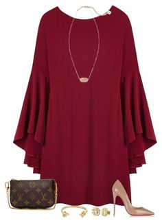 """""""Christmas party outfit """" by sassy-and-southern ❤ liked on Polyvore featuring Louis Vuitton, Christian Louboutin, Kendra Scott, My Name Necklace, Jennifer Fisher and sassysouthernwinter"""