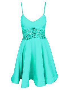 Sexy Waist Lace Stitching V-neck Swing Straps Mini Dress - WSDear.com