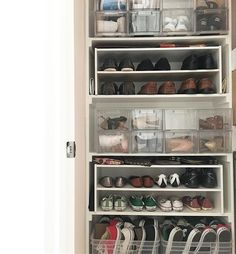 My clients can celebrate #tuesdayshoesday in any style they want now that we have perfected their closet set up!! (Yes, that's a high top AND a low top bin on bottom!) How you choose what goes on your feet determines how you should organize your shoes: either by color or by style. I'm a by style kind of girl, if it's a heels kinda night I want to see all my color options! What about you? #shoesdaytuesday #shoes #organizedcloset #organizedlifedesign