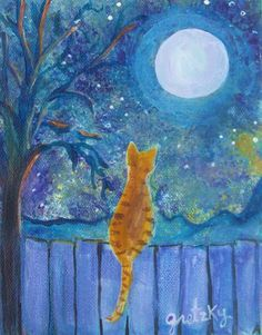 Cat on a Fence in the moonlight Painting  - Cat on a Fence in the moonlight Fine Art Print