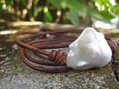 Diva Beach BoHo Baroque, Natural Fireball Fresh Water Pearl & 5x Wrap Leather Bracelet, $79.00