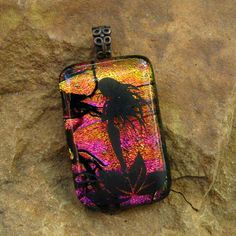 Fairy Dichroic Jewelry Fused Glass Pendant Copper by GlassCat, $24.50
