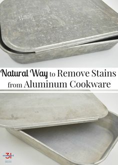 A natural way to remove stains from aluminum cookware and bakeware with ingredients you already have in your home. Bring those old pans back to life. Deep Cleaning Tips, House Cleaning Tips, Cleaning Solutions, Spring Cleaning, Cleaning Hacks, Green Cleaning, Cleaning Products, Cleaning Supplies, All You Need Is