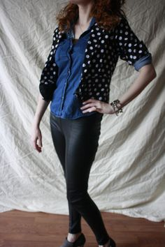 Francesca's blazer, Forever 21 chambray, Nordstrom leather leggings