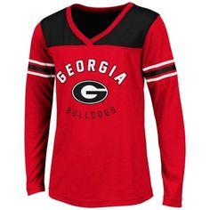 Georgia Bulldogs Youth Girls Player Long Sleeve V-Neck T-Shirt - Red