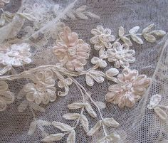 Crafts ❀⊱Embroidery, Ribbon Art & Yarn⊰❀ antique lace ribbon work