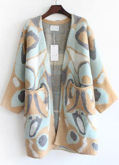 Camel Long Sleeve Leopard Pockets Loose Cardigan - Sheinside.com