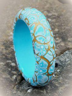 Mokume Gane Blue and Gold Bangle
