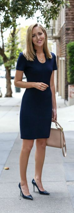 navy knit sheath dress, navy patent leather pointed toe pumps, nude satchel…