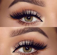 make up guide neutral, champagne glitter, softly shaded crease in warm brown, cream on the lower waterline, black winged liner extended into inner corner Pretty Makeup, Love Makeup, Makeup Inspo, Makeup Inspiration, Makeup Ideas, Buy Makeup, Makeup Looks For Red Dress, Makeup 2018, Green Makeup