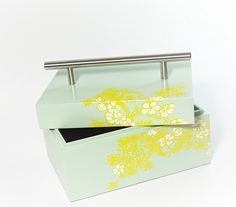 Wooden box keep safe box storage laquer box cheery bloom light green paint lift lid with stainless handle for home decor office study room dress or vanity Tall rectangle (Medium) Painted Wooden Boxes, Box Storage, Study Office, Cool Paintings, Office Decor, Decorative Boxes, Vanity, Bloom, Handle