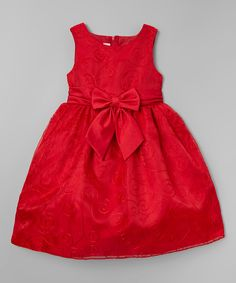 Look what I found on #zulily! Red Embroidered Bow Dress - Infant, Toddler & Girls by Rosenau Beck #zulilyfinds