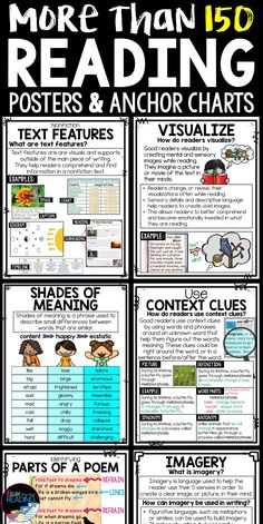 150 Reading Anchor Charts, Reading Posters, and Mini Posters for Students' Reading Notebooks! Mini Literacy Posters come as interactive reading anchor charts or reading posters. Great for interactive notebooks in an ELA classroom. Reading Strategies Posters | Figurative Language Posters | Figurative Language Anchor Charts | Genre Posters | Nonfiction Posters | Nonfiction Anchor Charts | Fiction Posters | Vocabulary Posters | Vocabulary Anchor Charts | Poetry Posters | Poetry Anchor Charts Poetry Anchor Chart, Writing Anchor Charts, Reading Strategies Posters, Reading Posters, Reading Words, Writing Words, Reading Notebooks, Interactive Notebooks, Teaching Reading