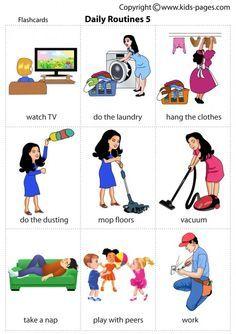 Kids pages - daily routines 5 daily routines, daily routine worksheet, kids english, English Verbs, Kids English, English Study, English Vocabulary, Vocabulary Worksheets, Alphabet Worksheets, Learn English Words, English Lessons, English Tips