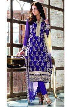 Violet Color Embroidered Georgette Straight Salwar Suit