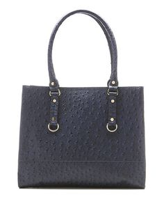 Take a look at this Navy Ostrich Embossed Natalie Tote by emilie m. on #zulily today!
