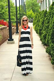 Life with Emily: What I Wore: B + W Striped Maxi