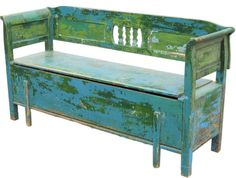 a bench with patina in sea colors