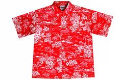 74a20352 Red Hawaiian shirt Kimono Shirt, Aloha Shirt, Hibiscus Flowers, Hawaiian  Islands, Blue
