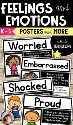 Understanding Emotions and Feelings can help readers comprehend on a much higher level. Understanding our own feeling and connecting them to a character helps children enjoy reading and learn so much more!   This resource includes 12 Basic Feelings and Emotions Posters with Definitions and Examples that are easy for kids to understand. Shocked, Disappointed, Worried, Proud, Content, Excited, Sad, Happy, Embarrassed, Scared, Confused, and Angry.