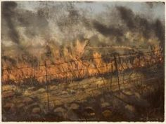 African Collection: Kim Berman 'Loweveld Fire I, 2004 Lithograph, 57 x 76 cm Marlene Dumas, Vanishing Point, Elements Of Art, African Art, Contemporary Artists, Old Things, Fire, Landscape, Gallery